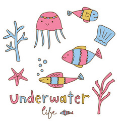 undewater life design elements set vector image