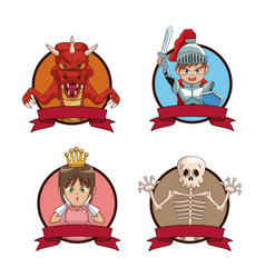 Videogames characters cartoons icons set vector