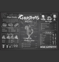 Vintage chalk drawing christmas menu design vector