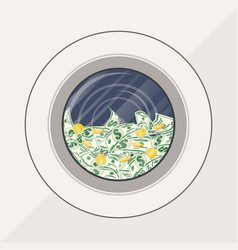 washing machine full of dollars banknotes vector image