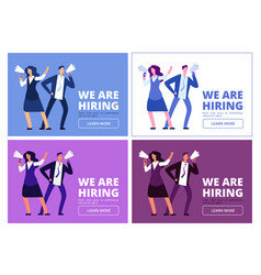 we are hiring concept man and woman with vector image