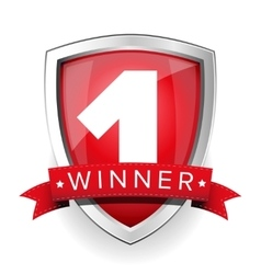 Winner shield with red ribbon vector