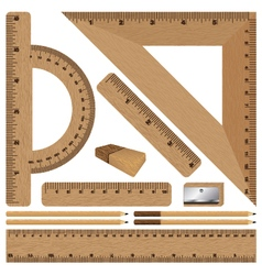 Wooden ruler and Drawing set on white background vector image