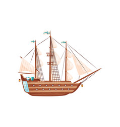 Wooden ship with big beige sails flag with blue vector