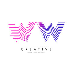 Ww w zebra lines letter logo design with magenta vector