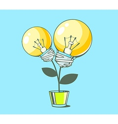 yellow lightbulbs growing in pot on blue vector image
