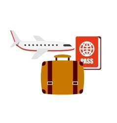flight travel set icons vector image