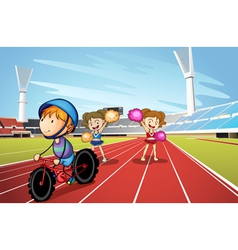 Kids and race track vector image vector image