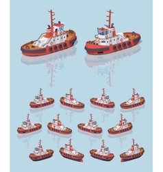 Low poly red and white tugboat vector image