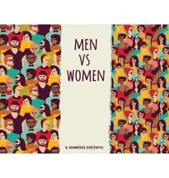 Men vs women crowd people color seamless patterns vector image vector image