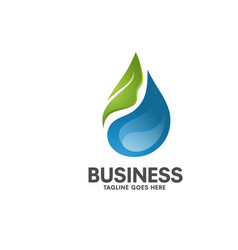 natural healthy water leaf logo vector image vector image