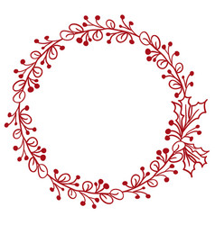 red round frame of leaves isolated on white vector image vector image