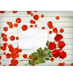 Roses over wooden table EPS 10 vector image