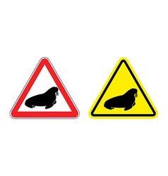 Warning sign attention walrus Hazard yellow sign vector image