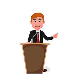 cartoon businessman presentation on podium vector image