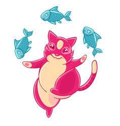 cute pink cat smiling and juggling fish vector image