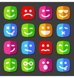 Flat emotion icons with smiley faces vector