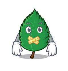 Silent mint leaves mascot cartoon vector