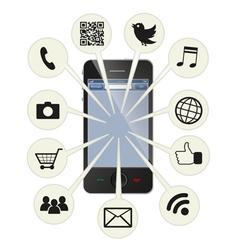 Social smart phone vector image vector image