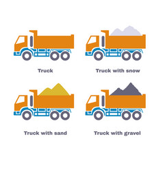 truck with sand snow and gravel vector image