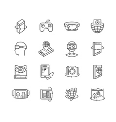 Virtual reality technologies icon set vector image