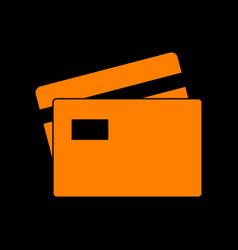 credit card sign orange icon on black background vector image
