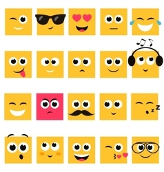 Emotional square yellow faces icon set vector image