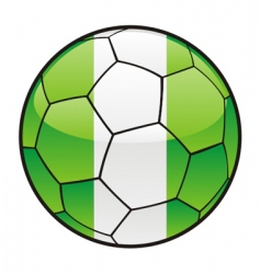 flag of Nigeria on soccer ball vector image vector image