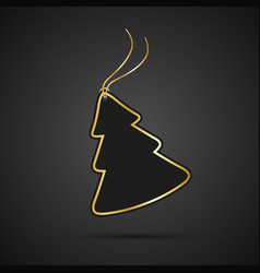 modern golden christmas tree with string on black vector image vector image