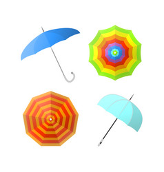 set of colorful umbrellas from different angles vector image vector image