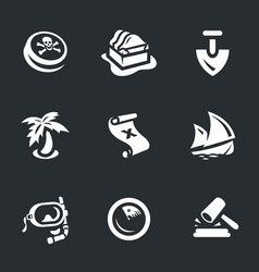 set of treasure icons vector image vector image