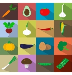 Vegetables icons flat set vector image