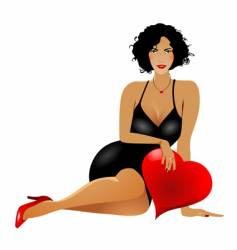 woman with heart vector image vector image