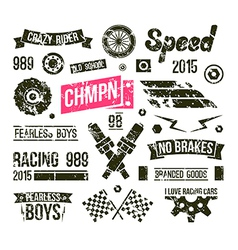 Car races club badges in retro style vector image vector image