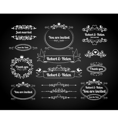Chalkboard calligraphic frames page dividers vector image vector image