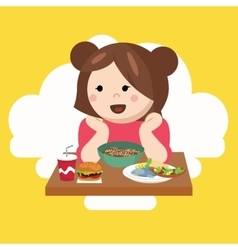 girl kids child cute happy eating food vector image vector image