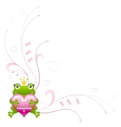 Happy Valentines day border Frog prince heart - vector image vector image