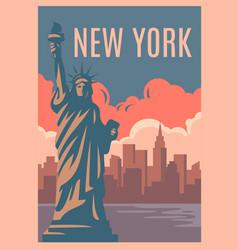 new york retro poster vector image