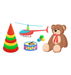 teddy bear and copter toys vector image