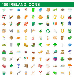 100 ireland icons set cartoon style vector