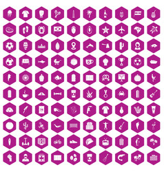 100 south america icons hexagon violet vector image
