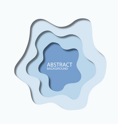 3d abstract blue wave background with paper cut vector image