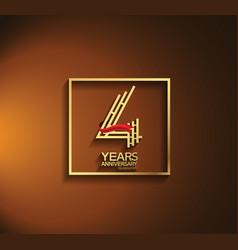 4 years anniversary logotype golden color vector