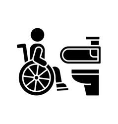 Accessible toilet black glyph icon vector