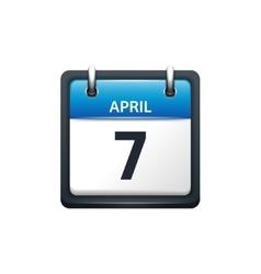 April 7 Calendar icon flat vector