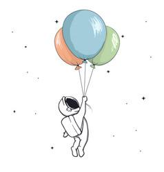 Astronaut keeps balloons vector