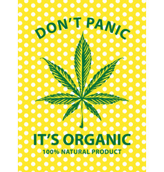 Banner for organic marijuana with cannabis leaf vector