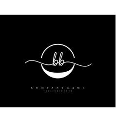 bb initial handwriting minimalist geometric logo vector image