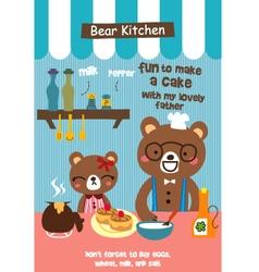 Bear cafe doodle vector