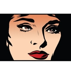 Beautiful girl face in the dark noir vector image
